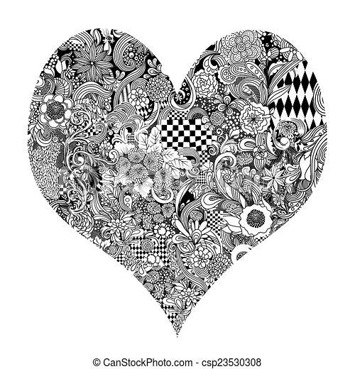 Dibujo de tinta del corazón - csp23530308