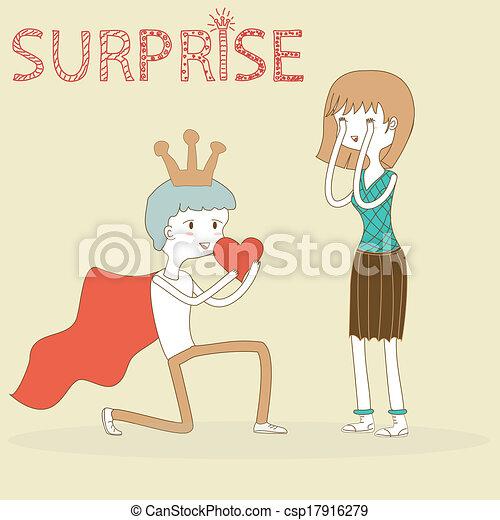 El príncipe Doodle le da su corazón a la chica en San Valentín - csp17916279