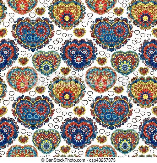 Patrón de encaje sin cortes de señales cardíacas. Vintage, rizado, textura arremolinada. Ornamento floral torcido de hojas de laurel. Una figura colorida en el fondo blanco. Amor, cumpleaños, San Valentín, venta. Vector - csp43257373