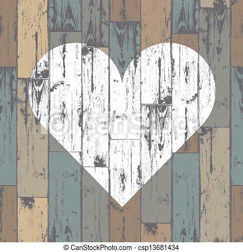 corazón, eps10, de madera, fondo., vector, blanco - csp13681434
