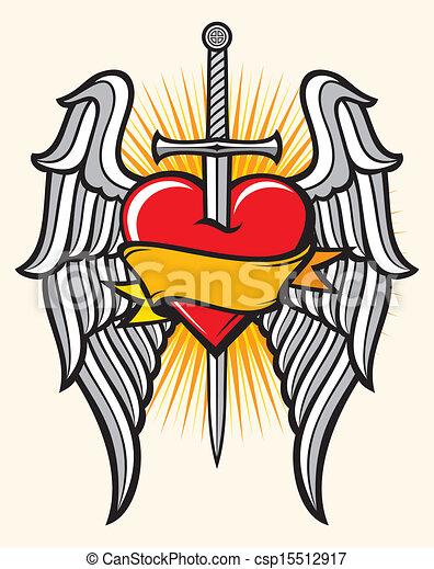 Clip art vectorial de corazn espada alas  corazn espada y