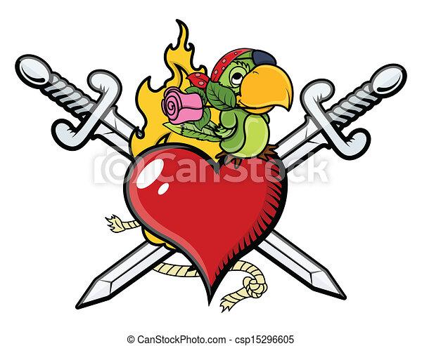 Corazón Espada Loro Pirata Corazón Arte Loro Fuego Espadas