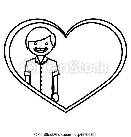 Corazón, figura, dentro, wth, hombre, bigote, feliz. Corazón, figura ...