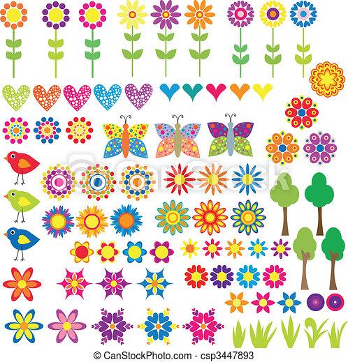 Flor, corazón y colección de animales - csp3447893