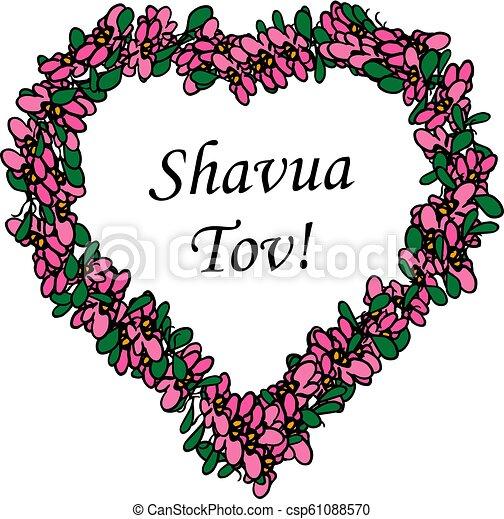 Corazón Flor Week Marco Tov Aislado Ilustración Bueno Inscripción Forma Vector Plano De Fondo Hebreo Shavua Traducción
