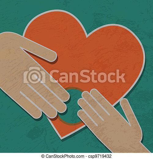 Corazón, fondo., vector, manos humanas, asimiento, mi foto de ...