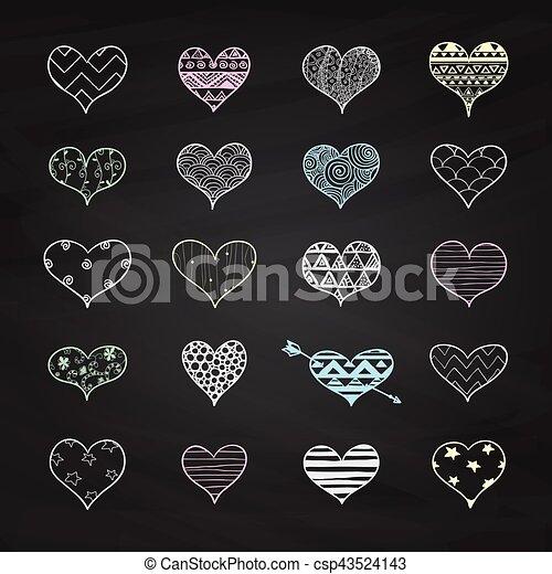 Vector tiza dibujando formas del corazón con patrones de garabatos - csp43524143
