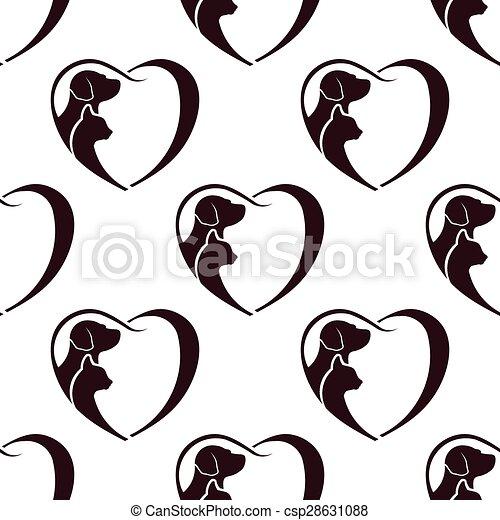 Patrón de corazón de perro gato. Sin costura - csp28631088