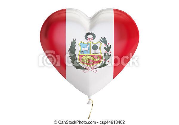 Corazón, globo, forma, interpretación, bandera, perú, 3d. Perú ...
