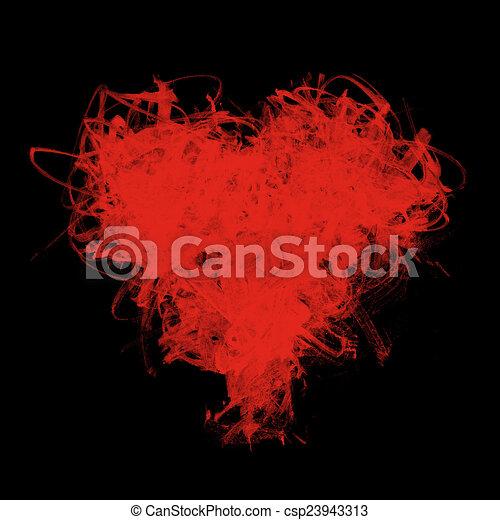 Un corazón esquelético de pinceles rojos en negro - csp23943313