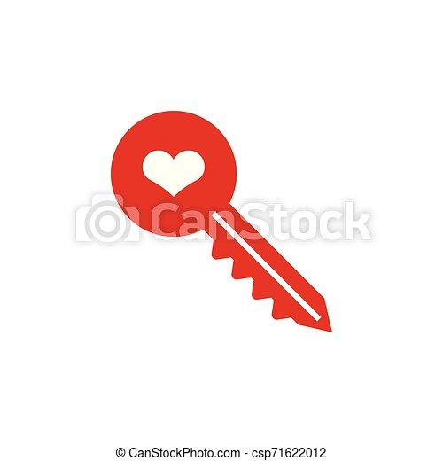 Ilustración de vectores de vector de diseño gráfico de icono icono de corazón clave - csp71622012