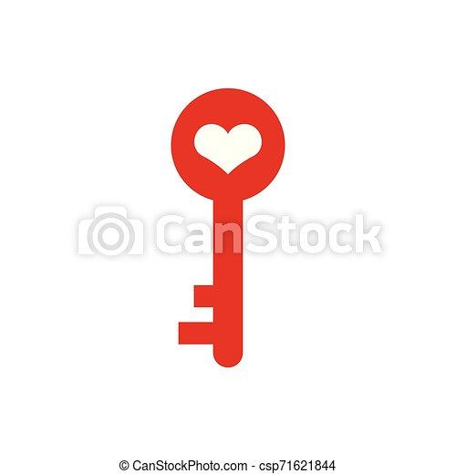 Ilustración de vectores de vector de diseño gráfico de icono icono de corazón clave - csp71621844