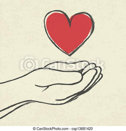 corazón, hands. - csp13681420