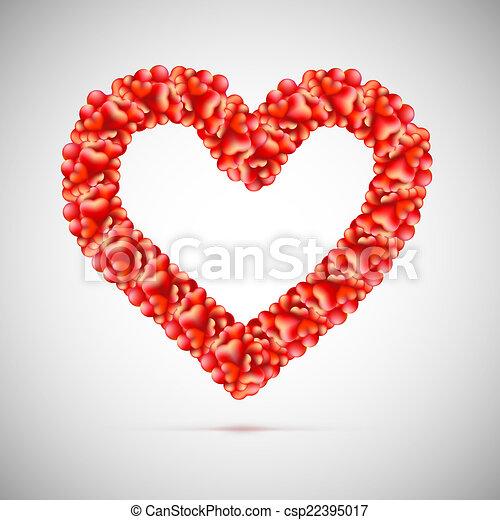 Corazón Hecho Grande Arriba Pequeño Corazones Rojo Corazón