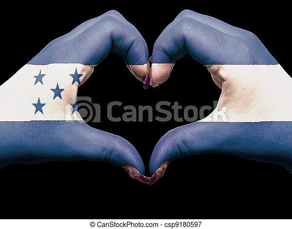 corazón, hecho, honduras, turista, símbolo, bandera, perú, manos, amor, actuación, coloreado - csp9180597