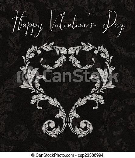 Corazón de San Valentín de hojas de Laurel - csp23588994