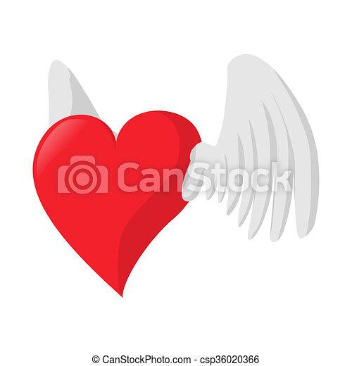Corazón Icono Amor Caricatura Alas Corazón Amor Alas Plano