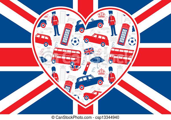 Bandera británica, corazón, iconos de Londres - csp13344940