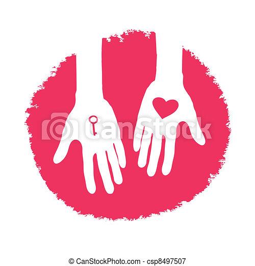 Llave y corazón como regalo. Diseño de logotipo de San Valentín, ilustración de vector. - csp8497507