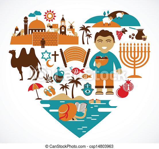 Israel, corazón de ilustraciones vectoras - csp14803963