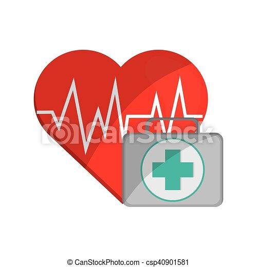 Cardiograma y icono de primeros auxilios - csp40901581
