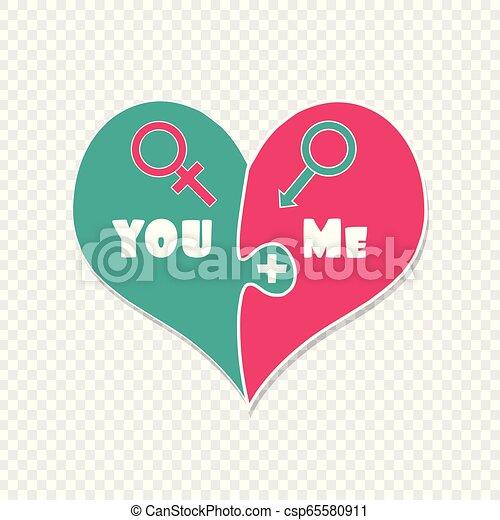 Tú más yo. Amor. Puzzle dos piezas de arte del clip del corazón - csp65580911