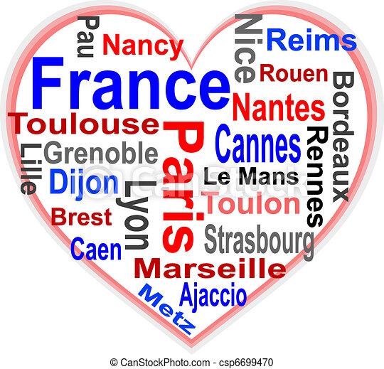 corazón, más grande, francia, palabras, ciudades, nube - csp6699470