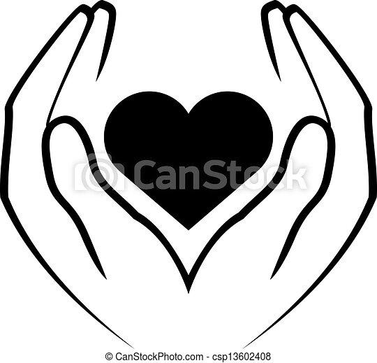 corazón, manos de valor en cartera - csp13602408
