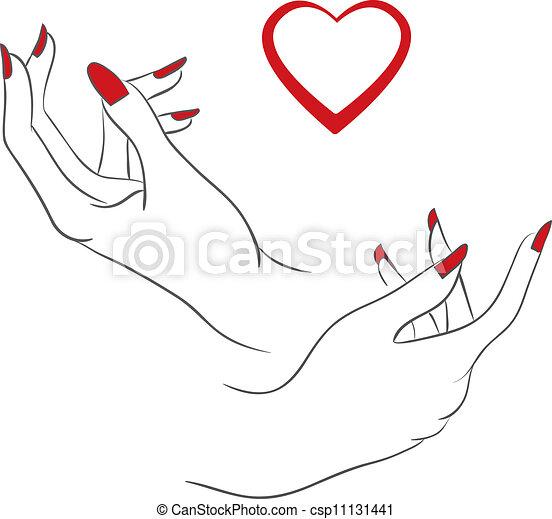 Corazón, manos humanas. Corazón, vector, humano, ilustración, manos.