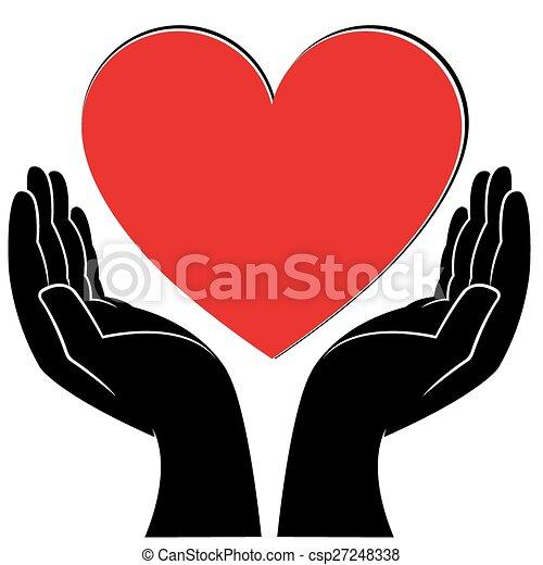 Corazón, manos humanas. Corazón, vector, manos, humano,... vectores ...
