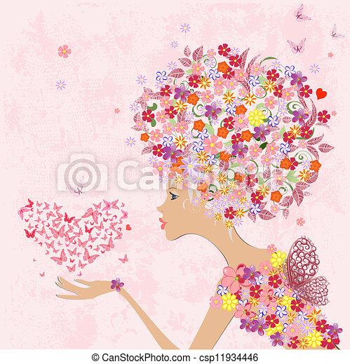 La chica de las flores de moda con un corazón de mariposas - csp11934446
