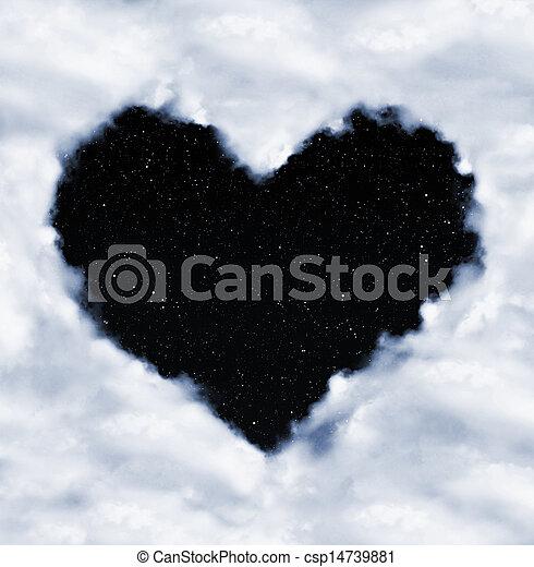 corazón, noche, nubes, cielo - csp14739881