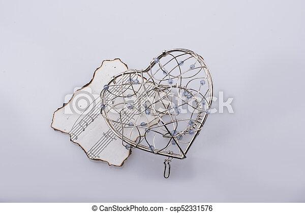 Corazón Notas Forma Papel Debajo Quemado Musical Icono