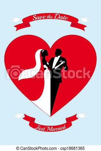 Novia y novio con corazón rojo - csp18681365