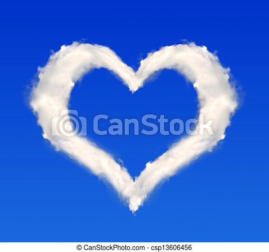 corazón, nubes - csp13606456