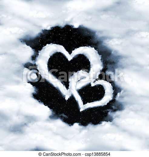 corazón, nubes - csp13885854