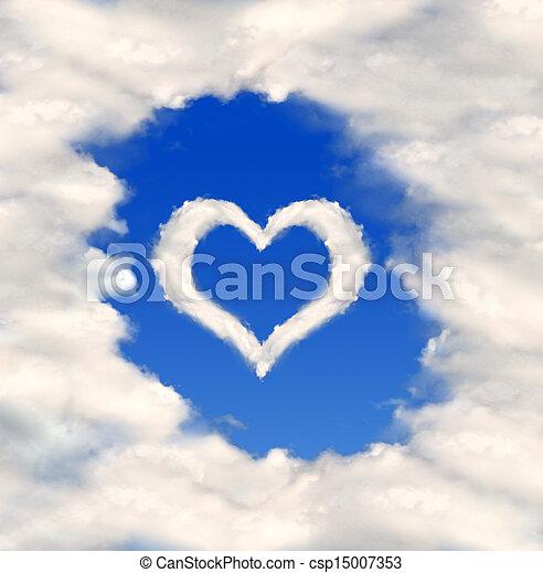 corazón, nubes - csp15007353
