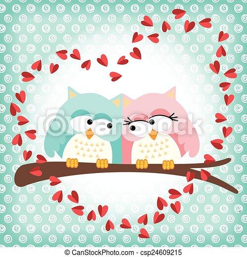Los búhos lindos se unen con corazón de amor - csp24609215