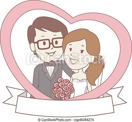 La pareja de novios con estandarte dentro del corazón - csp46384274