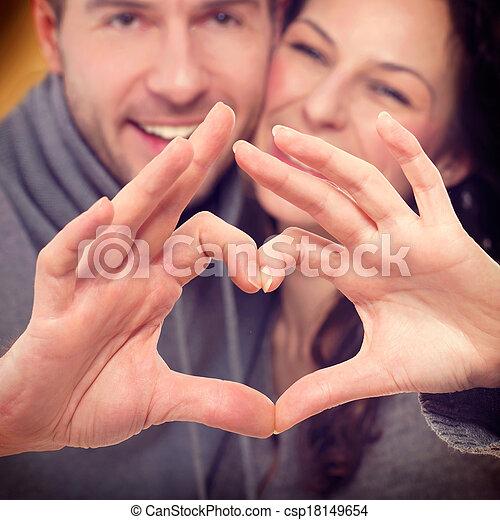 corazón, pareja, valentine, su, forma, manos, elaboración - csp18149654