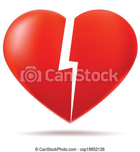 Corazón, partes, dos, roto. Concepto, heart., perdido, dos, roto ...