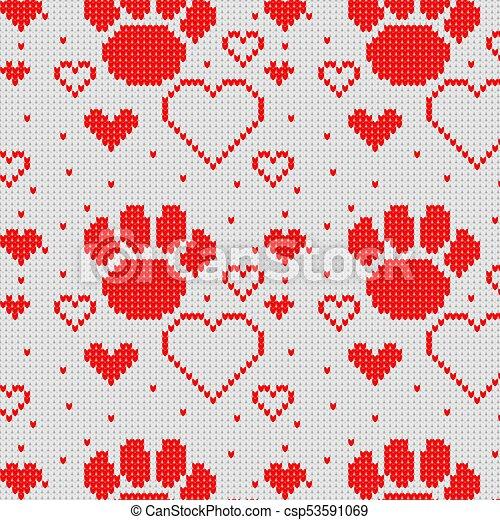 Corazón, pata, patrón, seamless, perro, tejido, fondo. Corazón ...