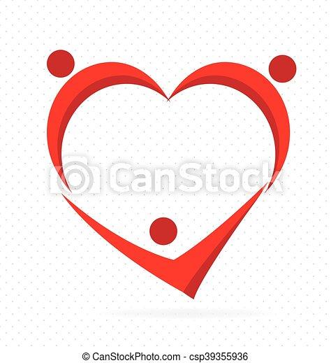 El corazón en equipo ama a la gente. Familia - csp39355936
