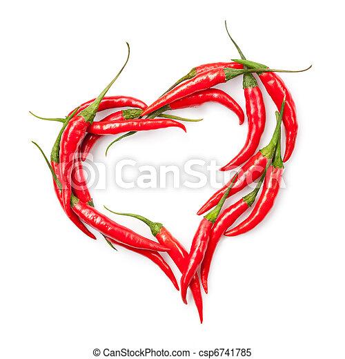 corazón, pimienta, blanco, chile, aislado - csp6741785