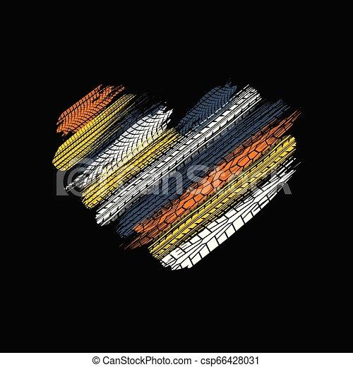 El corazón negro sigue huellas de neumáticos - csp66428031