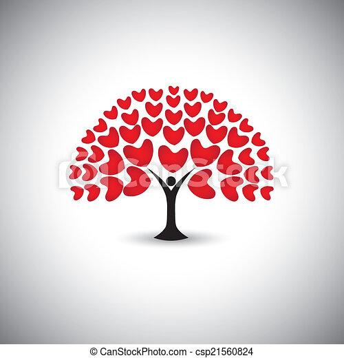 Corazón Planta Concepto Amor Gente árbol Iconos Vector O