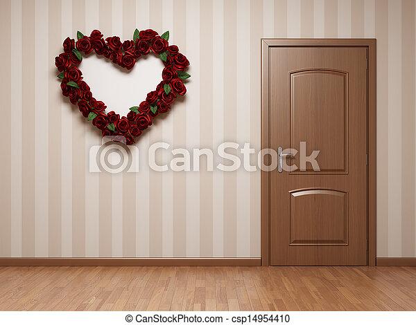 Cuarto vacío con puerta y corazón - csp14954410