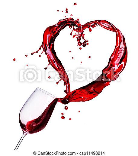 corazón, resumen, vidrio, salpicadura, vino rojo - csp11498214