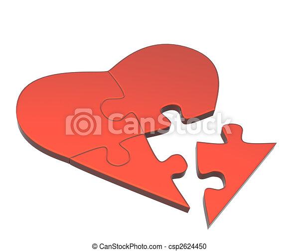 Corazón, rompecabezas, partes. Corazón, amor, símbolo, -, partes ...