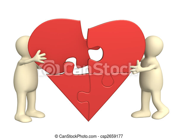 Corazón, rompecabezas, partes. Corazón, amor, símbolo ...